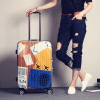 复古行李箱男女个性铝框拉杆箱万向轮旅行箱包密码箱子20寸24寸潮 黄蓝色 黄蓝飞机牌