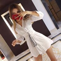 春季女装韩版时尚衣服新品打底衫性感中长款收腰显瘦长袖衬衣