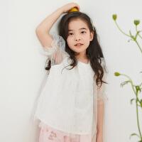 【1件4折到手价:74】米喜迪mecity童装2019夏新款女童T恤荷叶边装饰仙女短袖t恤