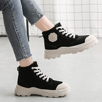 马丁靴 女士网红英伦风马蹄跟厚底加棉加厚短靴2020秋冬女式学生加绒保暖圆头低筒靴子