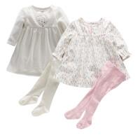 童秋季新生婴儿套装粉色t恤女宝宝纯棉碎花长袖连衣裙打底裤