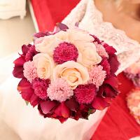 结婚用品新娘仿真玫瑰手捧花欧式婚礼花束婚纱影楼拍照道具 玫粉色