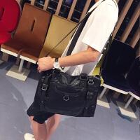 新款韩版男士手提包商务休闲男包个性单肩包斜跨包英伦风潮男包包 黑色