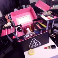 韩国3ce化妆包超大容量多层护肤品收纳盒简约便携防水化妆箱 黑色 (五开盒)