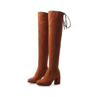 2018秋冬季新款韩版性感高跟过膝靴女长筒靴女靴子磨砂大腿靴