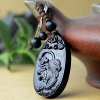 木质老虎吊坠 黑檀木雕刻属虎 钥匙扣挂件吊坠饰品