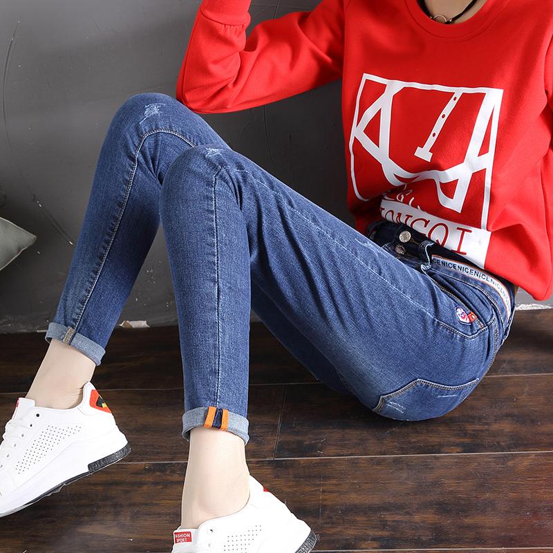 Freefeel2018春夏新款牛仔裤女长裤韩版修身显瘦高腰弹性裤子