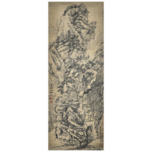 T915  石涛(款)《深山幽居图》(原装旧裱满斑,并有多位名家收藏印章)
