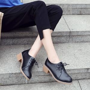 ZHR2018秋季新款英伦风小皮鞋粗跟单鞋休闲鞋真皮女鞋百搭鞋子潮