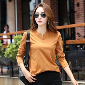 秋装新款T恤女士宽松大码显瘦长袖体恤韩版圆领带纽扣打底衫