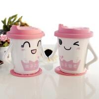 骨瓷卡通可爱陶瓷情侣带盖对杯礼物*品创意咖啡茶杯水杯子一对6055