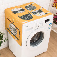 ???北欧简约滚筒洗衣机罩床头柜盖巾冰箱防尘罩防晒布棉麻盖布 明黄色 防尘防晒--酷猫