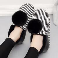 冬季女士棉鞋PU皮面防水室内户外防滑保暖厚底毛球包跟女