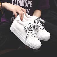 春季内增高小白鞋女韩版百搭女学生复古港味女鞋帆布鞋女板鞋