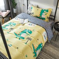 大学被子六件套单人床秋季小学生宿舍全棉床上三件套卡通纯棉被套儿童寝室六件套床单人被子