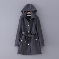 423 女装 冬季新款可拆卸连帽腰带修身长袖女式外套毛呢大衣
