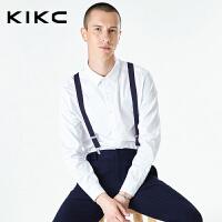 kikc长袖衬衫男2018秋季新款韩版白色纯棉商务上班青年休闲衬衣男