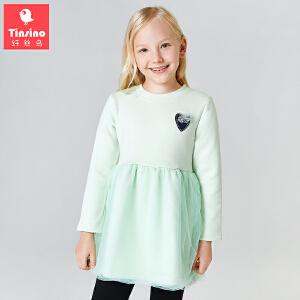 纤丝鸟(TINSINO)女童裙子儿童新款不倒绒保暖连衣裙中大童公主裙