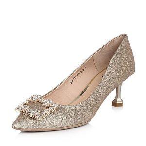 Tata/他她2018春专柜同款金色亮片布水钻方扣尖头女鞋FBC12AQ8