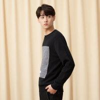 【全场2件2.5折,到手价:59.8】美特斯邦威毛衣男冬季新款时尚潮流韩版休闲学生平面套头毛衫