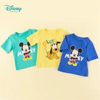 迪士尼(Disney)童装 男童短袖印花纯棉T恤上衣2020年夏季新品宝宝清凉汗衫