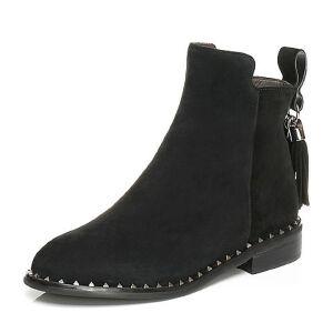Belle/百丽冬季专柜同款黑色羊绒皮女短靴BKD43DD6