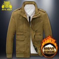 AFS JEEP 大码男装外套战地吉普男士多口袋加棉加厚棉衣9666