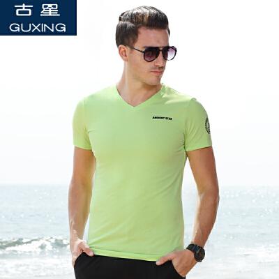 古星夏季t恤男款短袖V领套头运动宽松大码男装上衣半袖透气休闲
