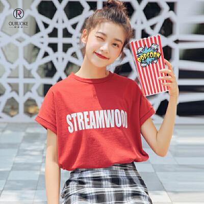 欧若珂 2018夏季韩版宽松印花学生百搭短袖T恤女宽松印花短袖T恤