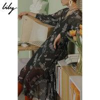 Lily春新款女装荷叶边印花连衣裙118330C7227