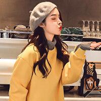 高领卫衣加绒加厚女套头秋冬韩版学生宽松假两件外套