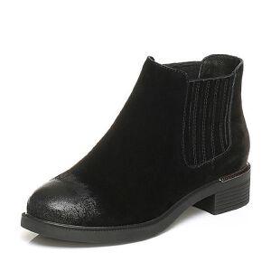 Tata/他她2017冬黑色牛剖层皮擦色及踝靴套筒女休闲靴FS740DD7