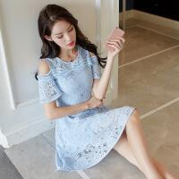 蕾丝连衣裙2018夏季新款气质淑女中长款小心机显瘦修身露肩A字裙 天蓝色