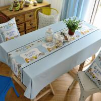 蓝色宜家小清新日式卡通餐桌布艺茶几布盖巾儿童书桌布可定制 浅蓝色 蓝色卡通桌布