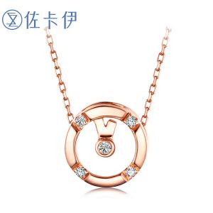 佐卡伊 玫瑰18K金钻石吊坠时光系列女款珠宝首饰情人节*