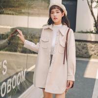 呢子大衣外套上衣女装2018秋冬新款纯色长袖修身显瘦气质开衫外套女学生冬季保暖御寒款