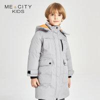 【全场2件2.5折,到手价:242.3】米喜迪mecity童装冬新款男童细节设计肌理面料长款羽绒服