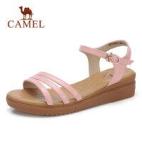 camel 骆驼女鞋2018夏季新款真皮平底凉鞋韩国简约百搭学生坡跟罗马鞋子
