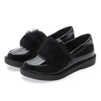 一鞋四穿女鞋秋冬网红同款英伦魔术贴复古尖头平底小皮鞋lkf 黑色 现货