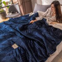 美萱三层珊瑚绒毯子女双人冬季法兰绒盖毯加厚保暖空调毯毛毯被子