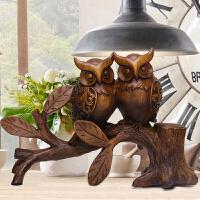 客厅酒柜书柜装饰品摆件创意现代简约欧式家居可爱猫头鹰小摆设品