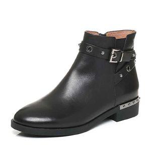 Belle/百丽2017冬经典百搭油皮牛皮女短靴3C3Y3DD7