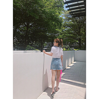 牛仔半身裙2018春装新款夏季高腰H型百搭不规则纯色显瘦短裤 现货