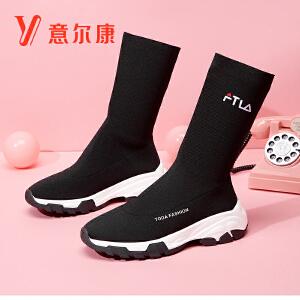 意尔康女鞋女袜子靴时尚织物套脚女靴