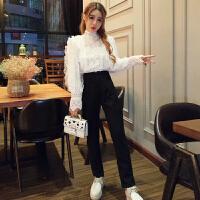时尚套装女秋冬新款韩版气质网纱拼接金丝绒上衣+高腰长裤两件套
