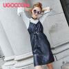 UGOCCAM2018秋装新款女韩版气质条纹系带蝴蝶结宽松长袖衬衫套装