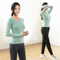 显瘦套指长袖健身上装女士T恤 韩版修身瑜珈上衣显瘦女上装专业瑜伽运动服