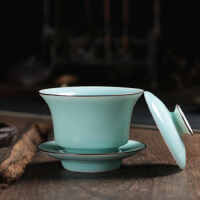 龙泉青瓷陶瓷盖碗三才盖碗茶杯 手工弟窑粉青大盖碗茶具茶杯