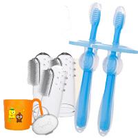 W 婴儿牙刷硅胶手指套0训练一婴幼儿刷牙1-2岁软毛3宝宝4儿童乳牙刷