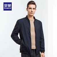 【6.15-6.20预估到手价:111】罗蒙(ROMON)夹克衫男中青年时尚休闲棒球领外衣2021春季新款修身短款外套